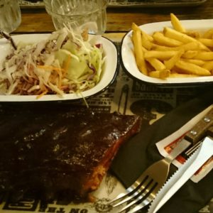 Ribs, fries, slaw... Another small meal at Reds BBQ